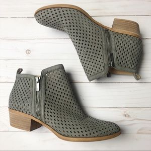 Lucky Brand Grey Perforated Basel Ankle Bootie 8.5